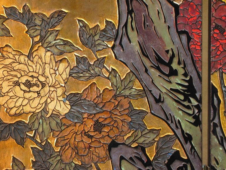 Lacquered Small Chinese Coromandel and Lacquer Four-Fold Screen, Mid-20th Century For Sale