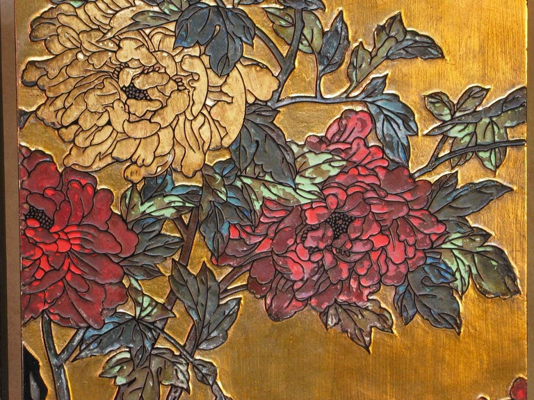 Small Chinese Coromandel and Lacquer Four-Fold Screen, Mid-20th Century In Good Condition For Sale In Ottawa, Ontario