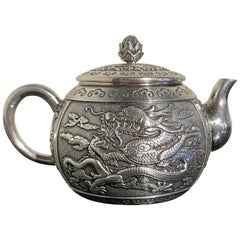 Small Chinese Export Silver Dragon Teapot by Wang Hing & Co, Late 19th Century
