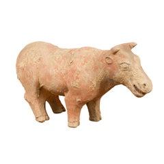 Small Chinese Han Dynasty Terracotta Bull Mingqi, circa 202 BC-200 AD