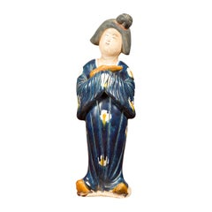 Small Chinese Statue of a Court Lady Wearing Blue Kimono and Holding a Baby
