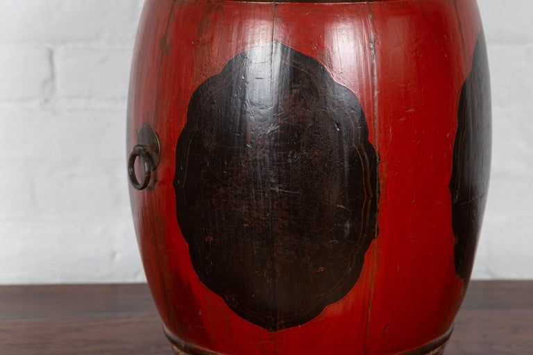 20th Century Small Chinese Vintage Wooden Barrel Planter with Red and Black Lacquered Decor For Sale