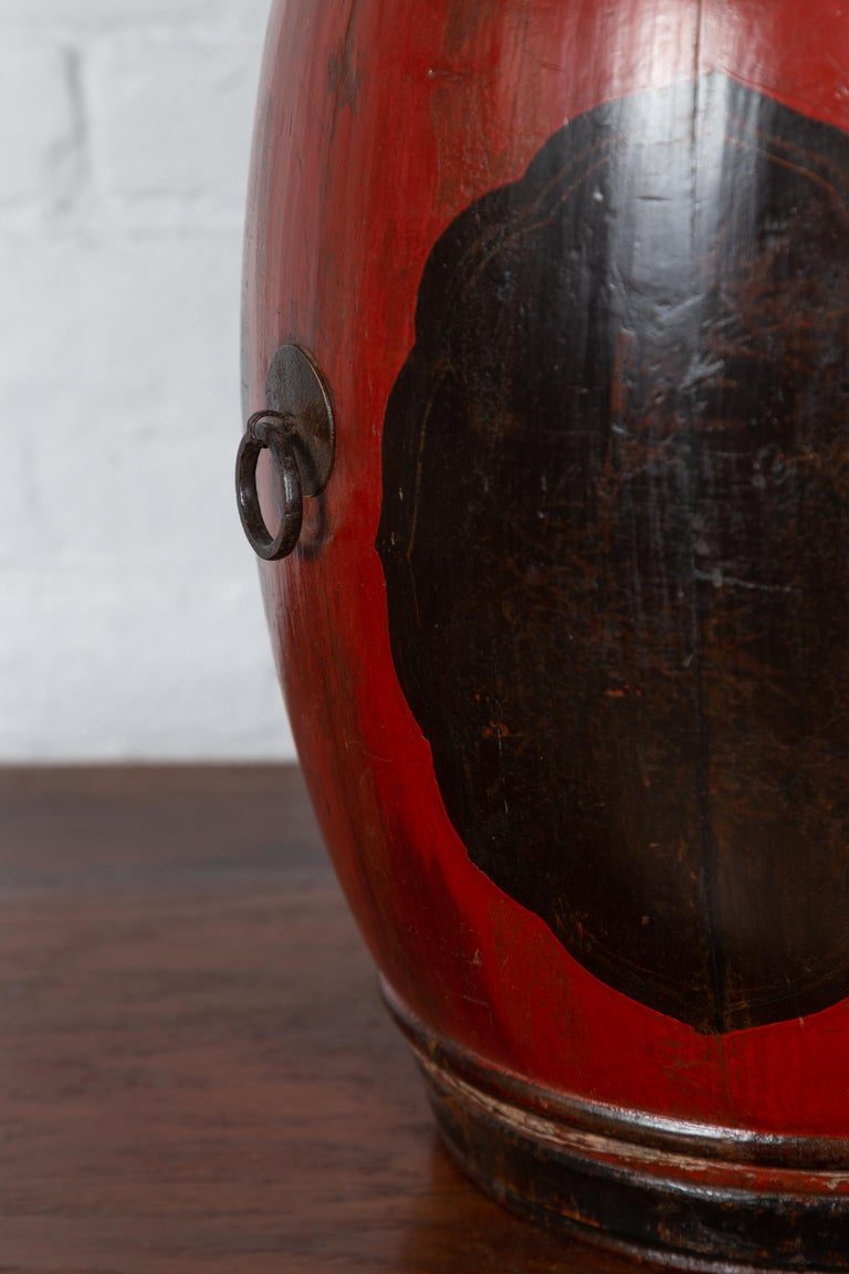 Small Chinese Vintage Wooden Barrel Planter with Red and Black Lacquered Decor For Sale 1
