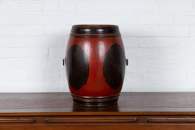 Small Chinese Vintage Wooden Barrel Planter with Red and Black Lacquered Decor For Sale 4