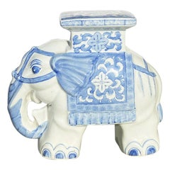 Small Chinoiserie Blue and White Ceramic Elephant Garden Plant Stand