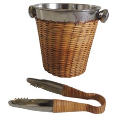 Small Chrome and Rattan Ice Bucket and Ice Thongs