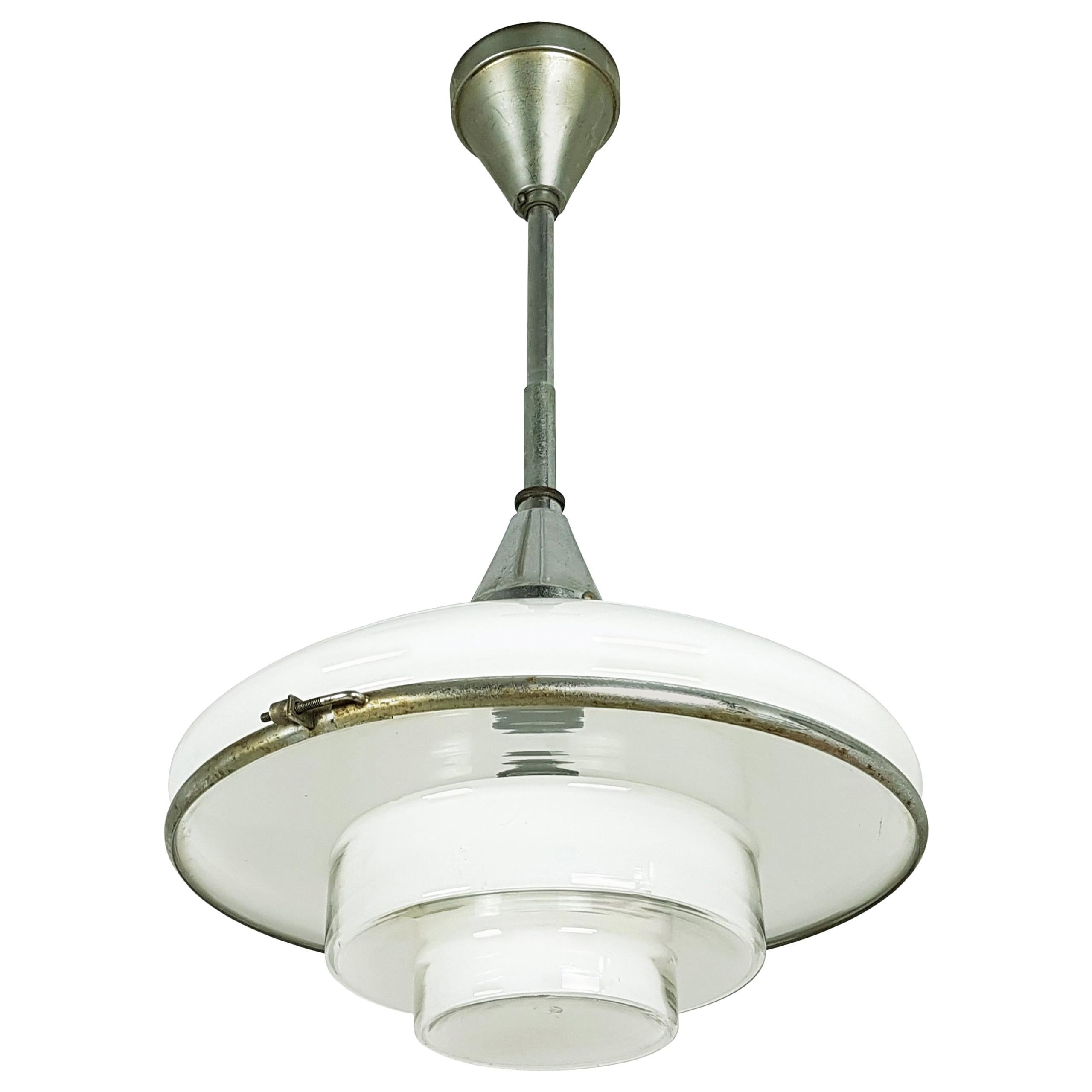 Small Chrome-Plated and Opaline Glass 1930s Pendant Lamp by Otto Müller for Sist
