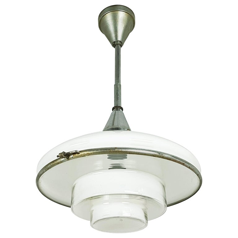 Small Chrome-Plated and Opaline Glass 1930s Pendant Lamp by Otto Müller for Sist For Sale
