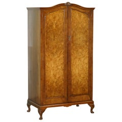 Small circa 1930s Figured Walnut Wardrobe with Internal Drawers Part of Suite