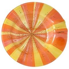 Small Circular Orange Roulette Fused Glass Ashtray Higgins