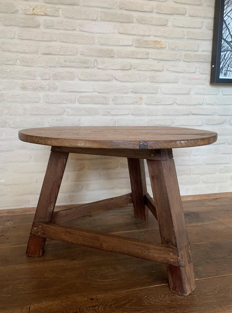 Spanish Small Circular Side Table 19th Century Cricket Table For Sale