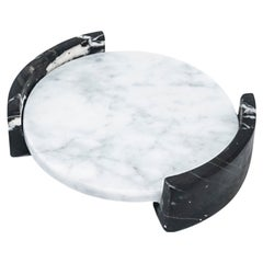 Small Circular Triptych Tray in White Carrara Marble