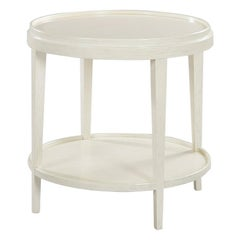Small Classic Round End Table, Distressed White