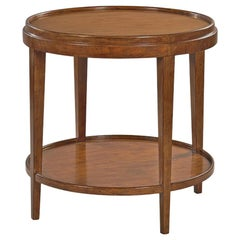 Small Classic Round End Table, Walnut