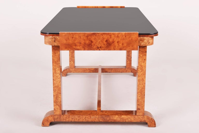 Early 20th Century Small Coffee Table, Czech Art Deco, Material Walnut, Black Glass For Sale