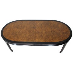 Small Compact Round to Oval Burl Wood Dining Dinette Table Two Extension Boards