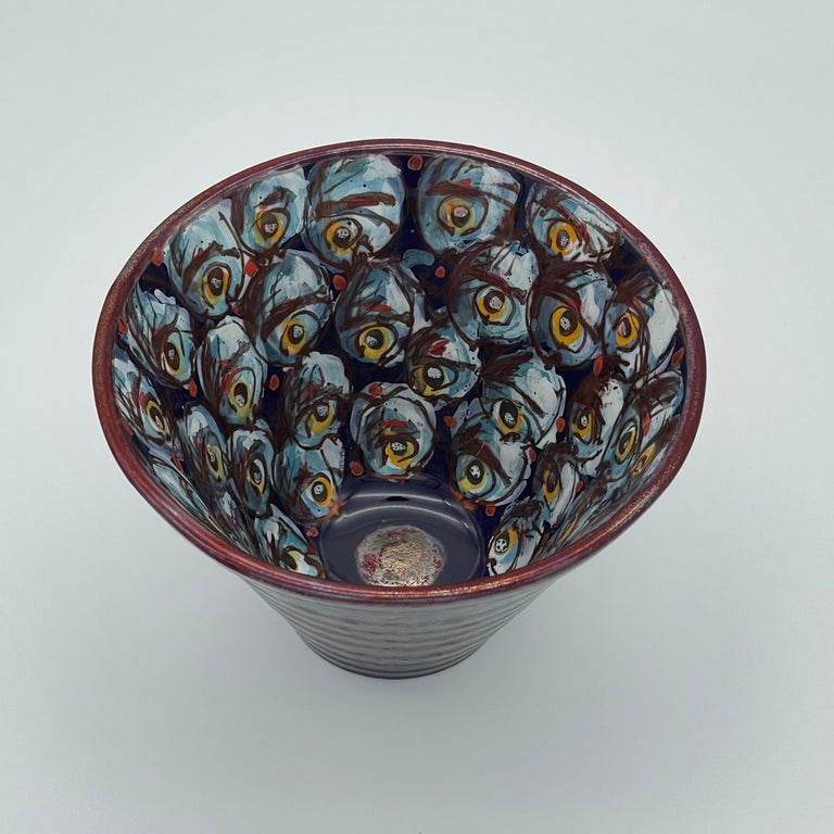 Small Conical Jar Hand Painted Glazed Earthenware Italy 21st Century Majolica In New Condition For Sale In London, GB