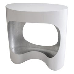 """Small Console in Lacquer and Silver Leaf """"Cloud"""""""