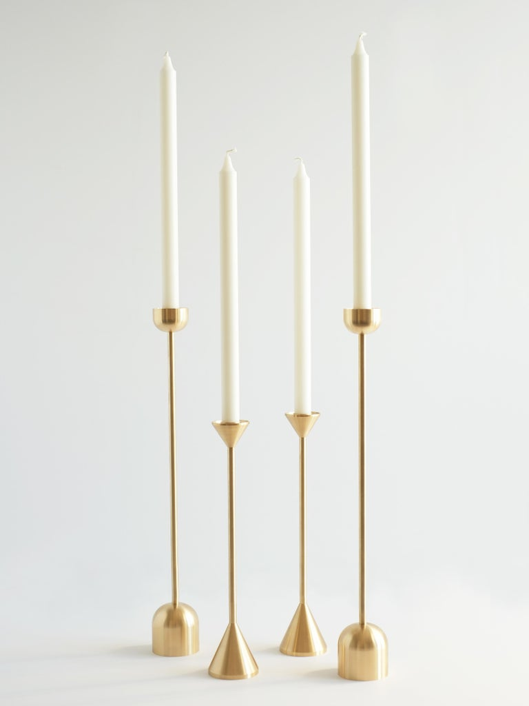 Small Contemporary Brass Cone Spindle Candle Holders by Fort Standard in Stock For Sale 1