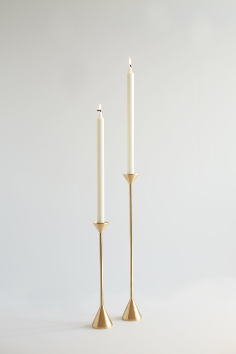 Small Contemporary Brass Cone Spindle Candle Holders by Fort Standard in Stock For Sale 2