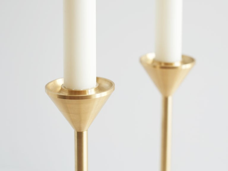 Small Contemporary Brass Cone Spindle Candle Holders by Fort Standard in Stock For Sale 3