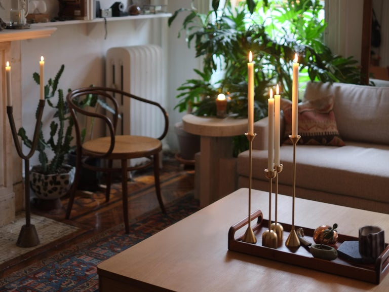 American Small Contemporary Brass Dome Spindle Candleholders by Fort Standard in Stock For Sale