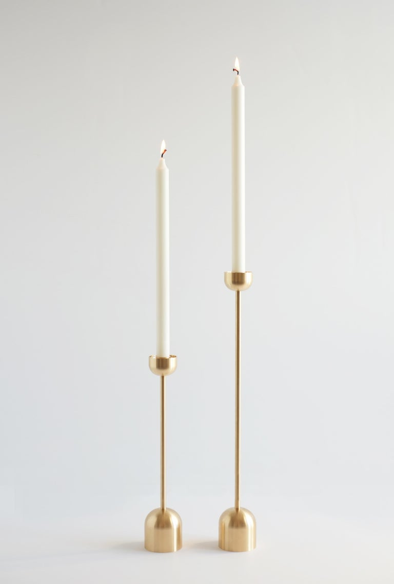 Small Contemporary Brass Dome Spindle Candleholders by Fort Standard in Stock For Sale 2