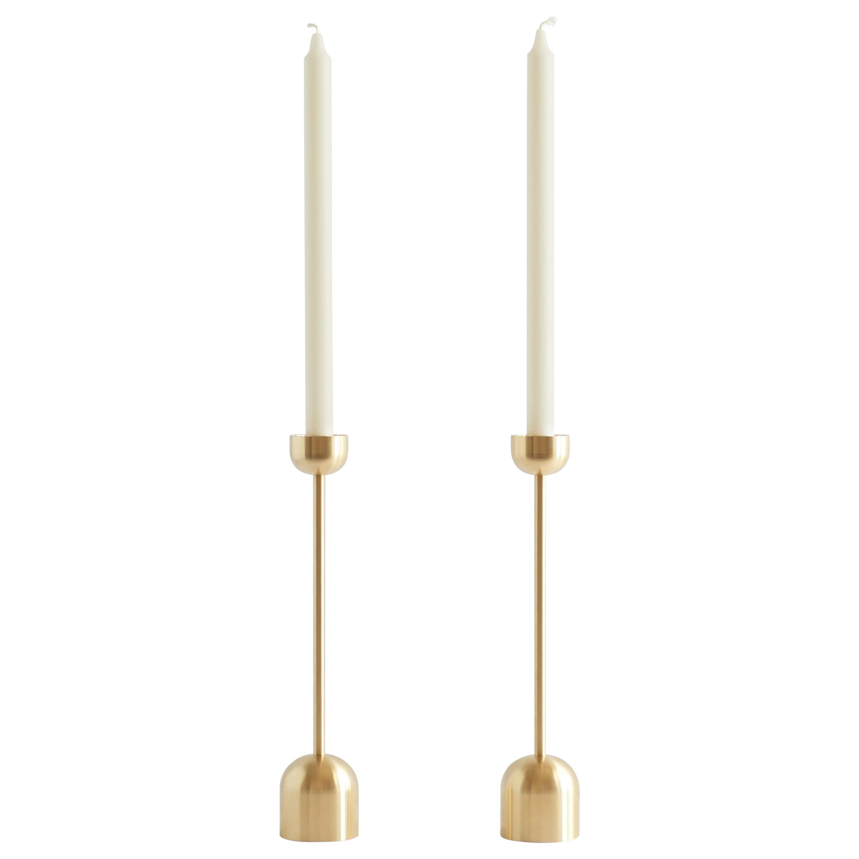 Small Contemporary Brass Dome Spindle Candleholders by Fort Standard
