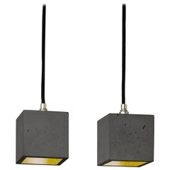 Small Contemporary Design Grey Concrete and Gold Leaf Ceiling Pendant Light