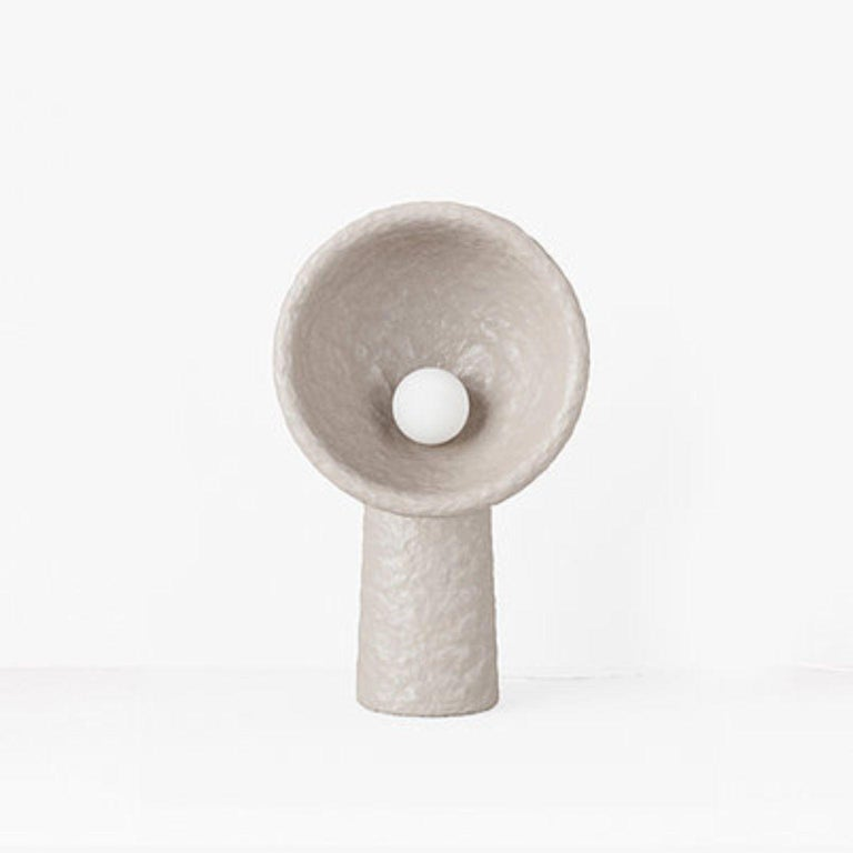 Small contemporary floor lamp by FAINA Design: Victoriya Yakusha Material: upcycled steel, flax rubber, wood chips, cellulose, and clay all with  biopolymer cover Dimensions: H 101.5 x W 60 x L 30 cm  In search of new-old design messages,