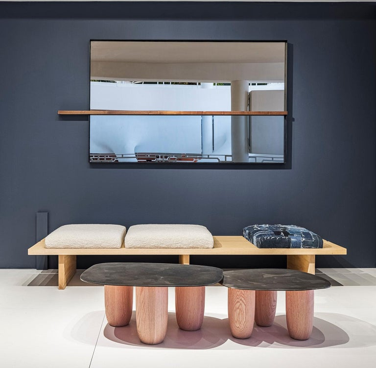 Patinated Small Contemporary Steel and Solid Oak Low Sumo Table by Vivian Carbonell For Sale