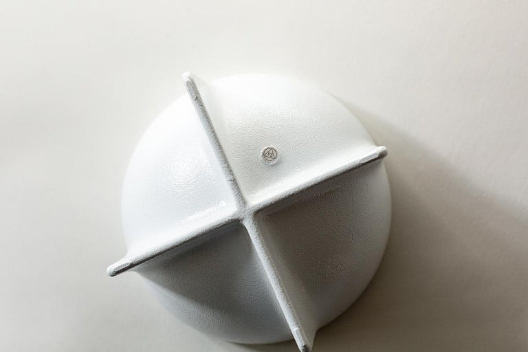 American Small Contemporary White Standing Bowl by Fort Standard, in Stock For Sale
