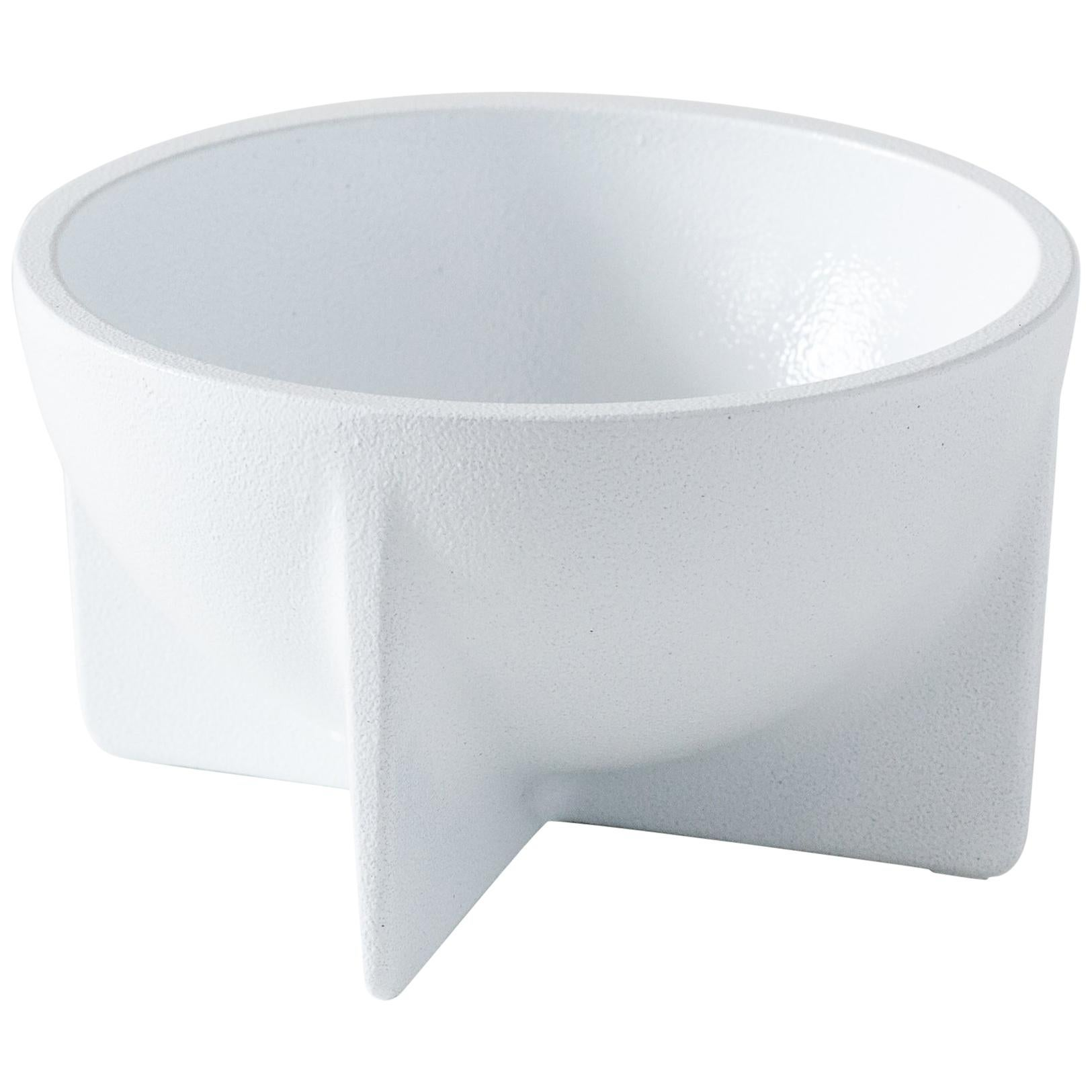 Small Contemporary White Standing Bowl by Fort Standard, in Stock