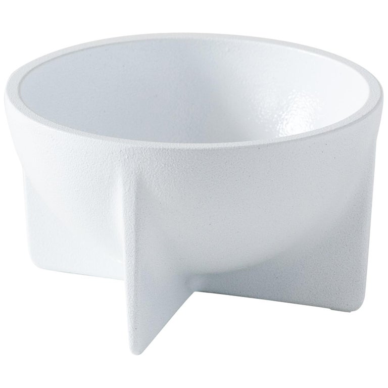 Small Contemporary White Standing Bowl by Fort Standard, in Stock For Sale