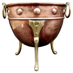 Small Copper Coal Bucket with Brass Embellishments