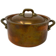 Small Copper Pot with Brass Handles and Lid