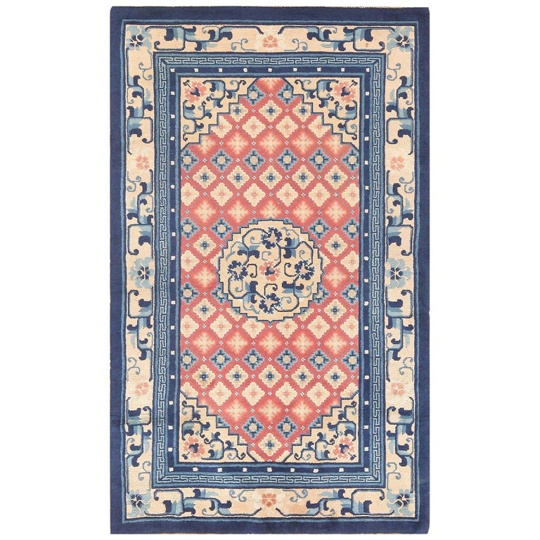Small Coral Color Antique Chinese Rug For Sale