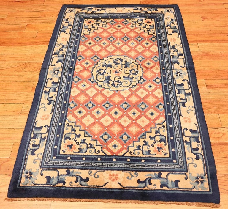 Small Coral Color Antique Chinese Rug In Good Condition For Sale In New York, NY