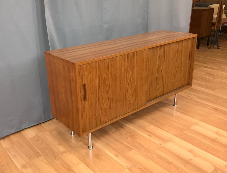 Scandinavian Modern Small Credenza or Sideboard in Teak by Paul Hundevad For Sale