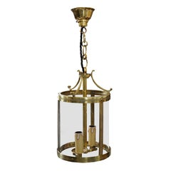 Small Cylindrical French Louis XVI Style Brass Lantern, circa 1880