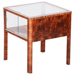 Small Czech Art Deco Walnut Table, Glass Showcase in the Table, 1930s