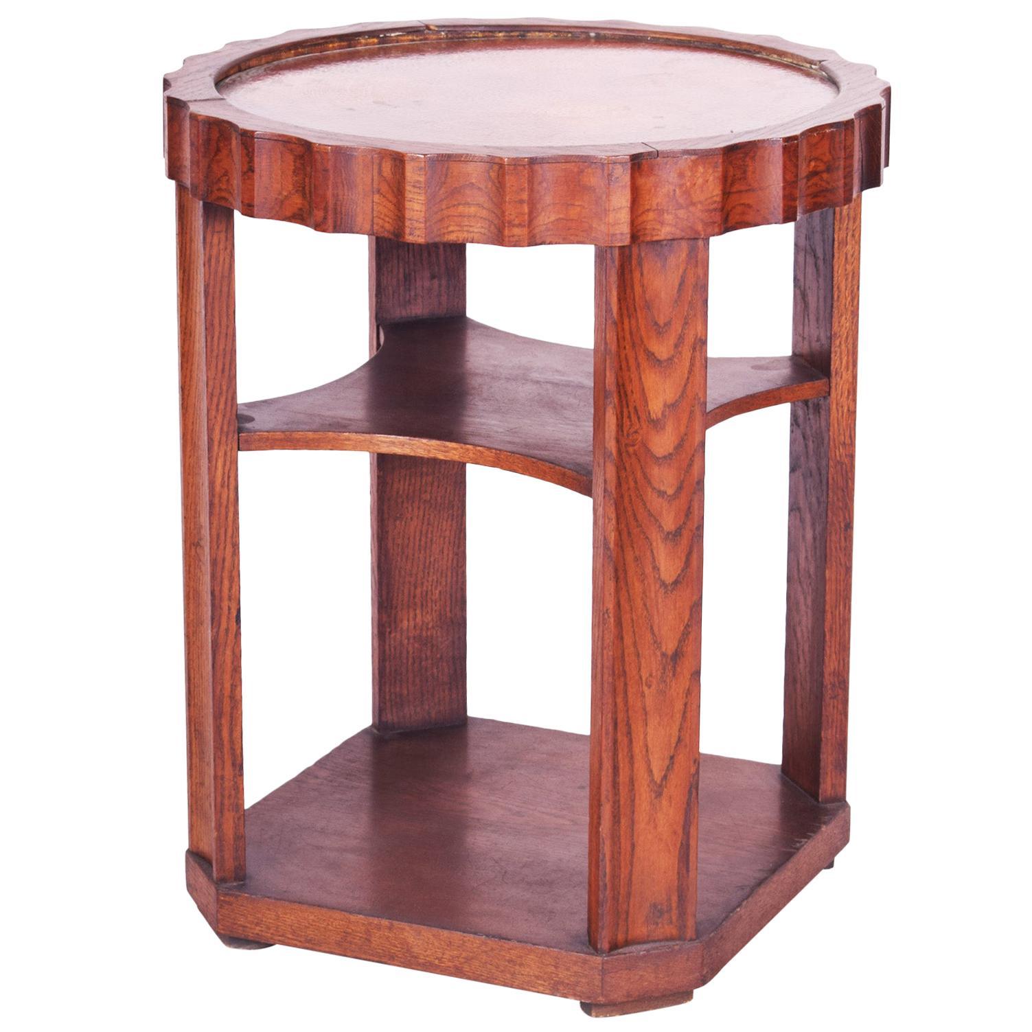 Small Czech Oak Art Deco Round Table, Copper Plate Desk, Good Condition, 1920s