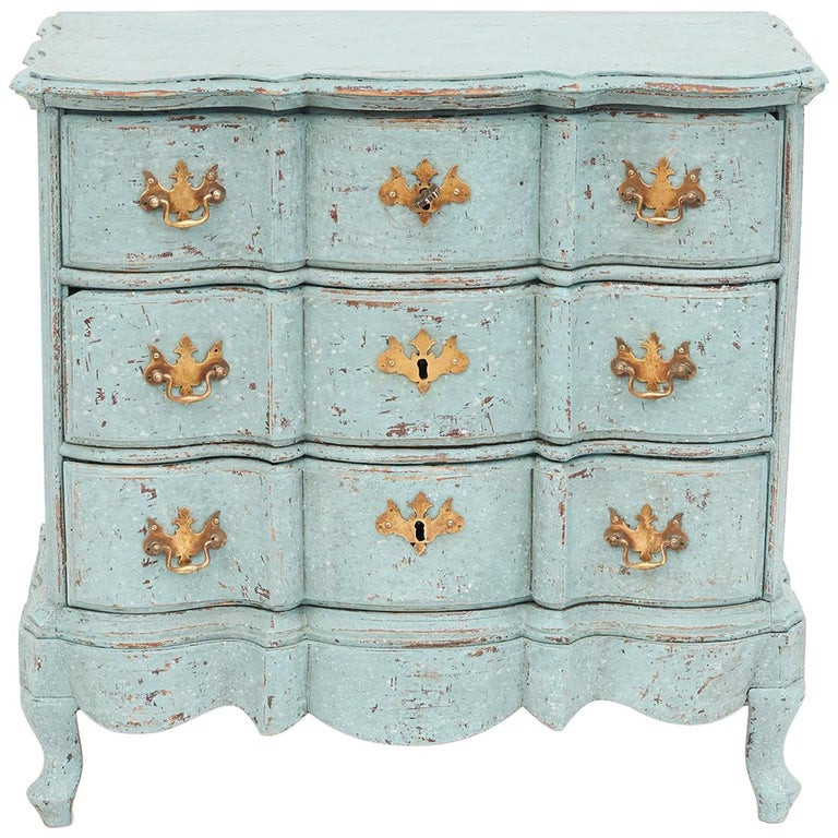 Small Danish 18th Century Baroque Chest Of Drawers In Decorative Blue Color