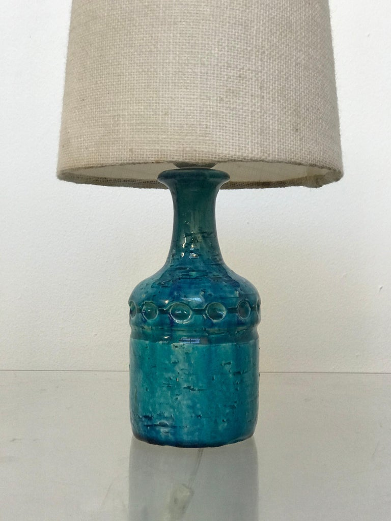 Small Danish Desk Ceramic Table Lamp by Bent Nordsted for Lyksaer Belysning For Sale 6