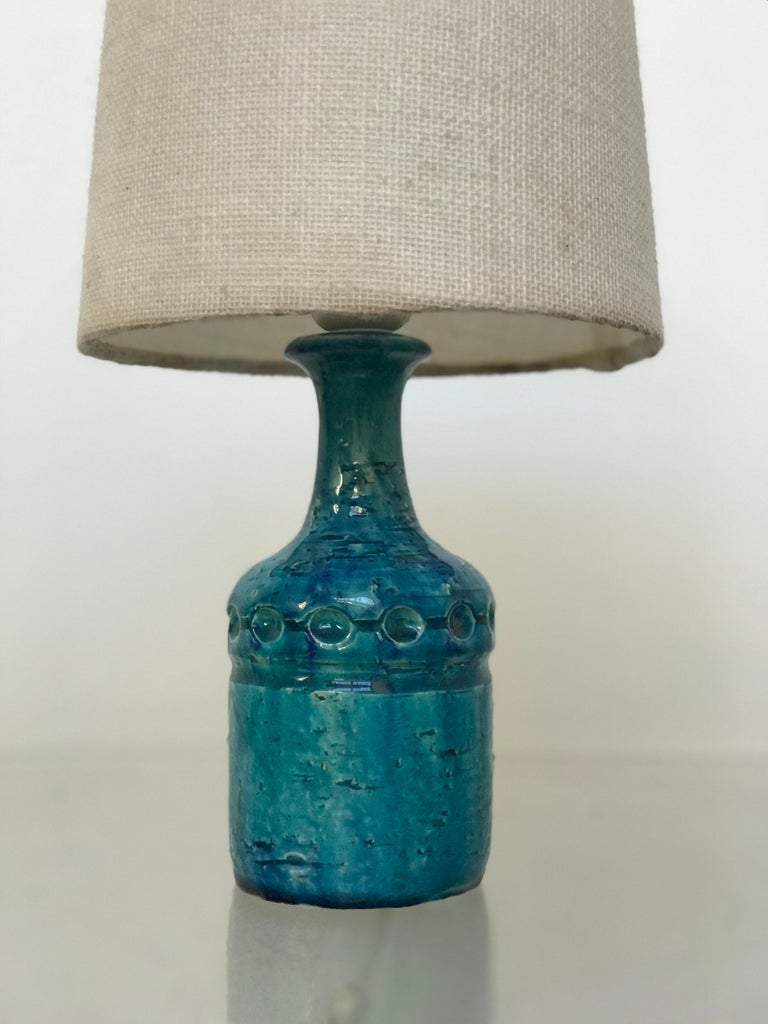 Small Danish Desk Ceramic Table Lamp by Bent Nordsted for Lyksaer Belysning For Sale 7