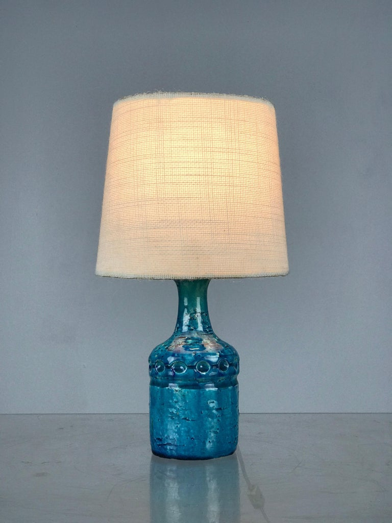 Mid-Century Modern Small Danish Desk Ceramic Table Lamp by Bent Nordsted for Lyksaer Belysning For Sale