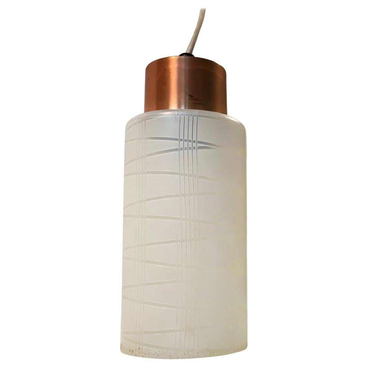 Small Danish Functionalist Glass and Copper Pendant from Voss, 1950s
