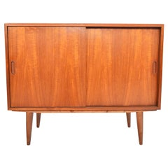 Small Danish Modern Teak Sliding Door Cupboard