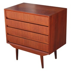Small Danish Teak Four-Drawer Chest of Drawers or Nightstand by Svend Madsen