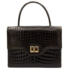 Small Dark Brown Crocodile Handbag